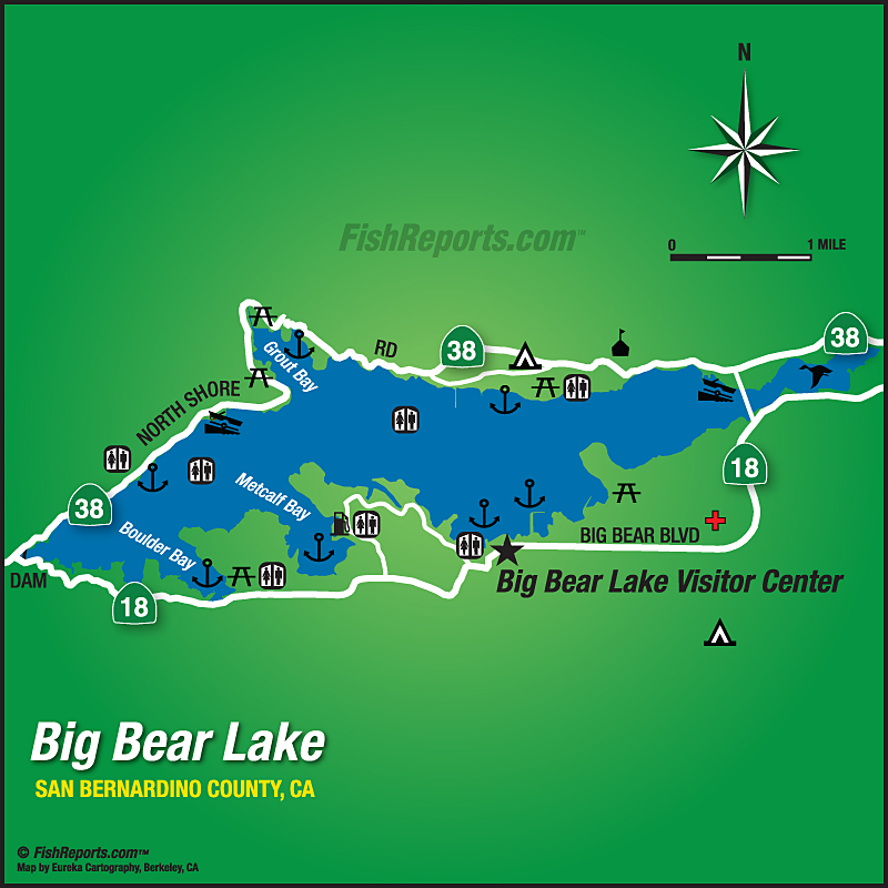 big bear lake fishing map Big Bear Lake Fish Reports Map big bear lake fishing map
