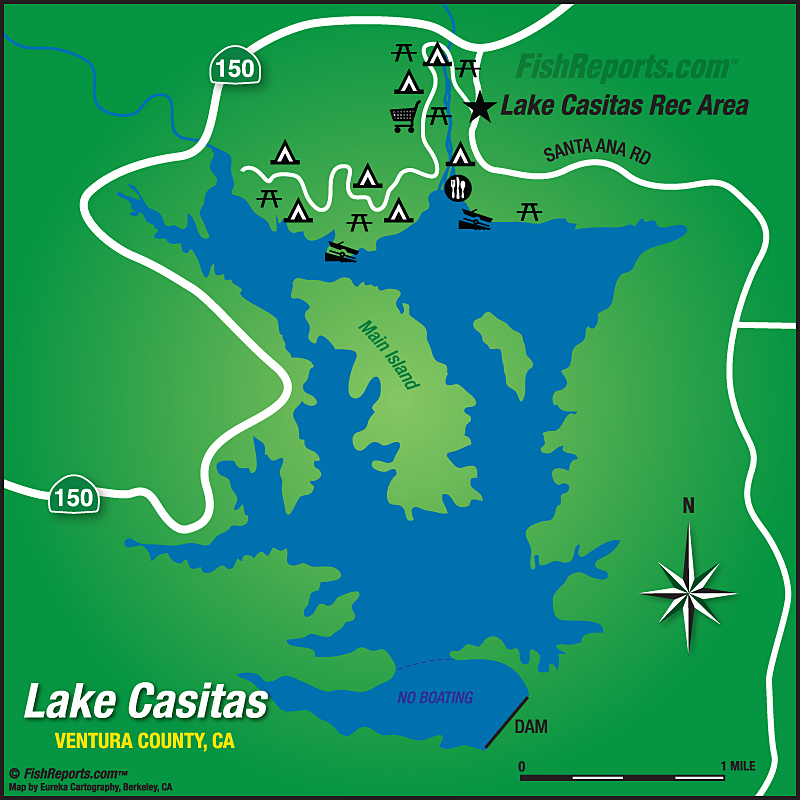 Lake Casitas - Fish Reports & Map