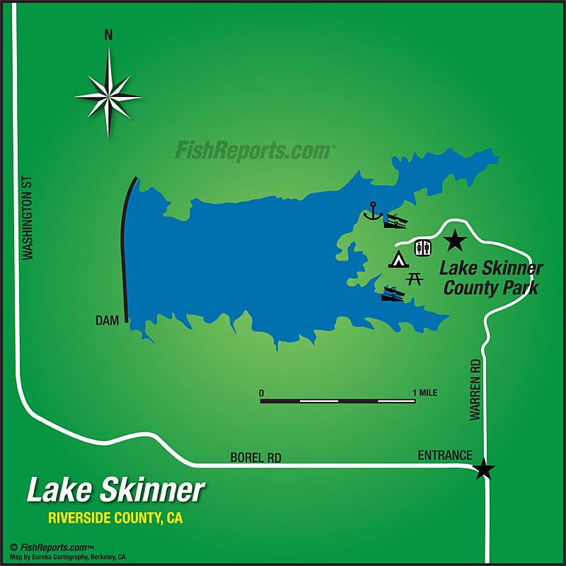 map of lake skinner Lake Skinner Fish Reports Map map of lake skinner